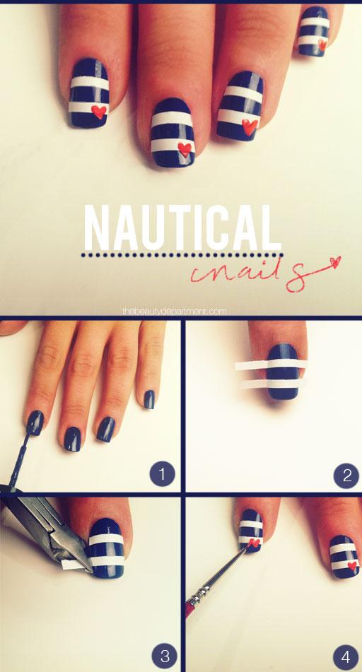 Super cute Nautical Nail design