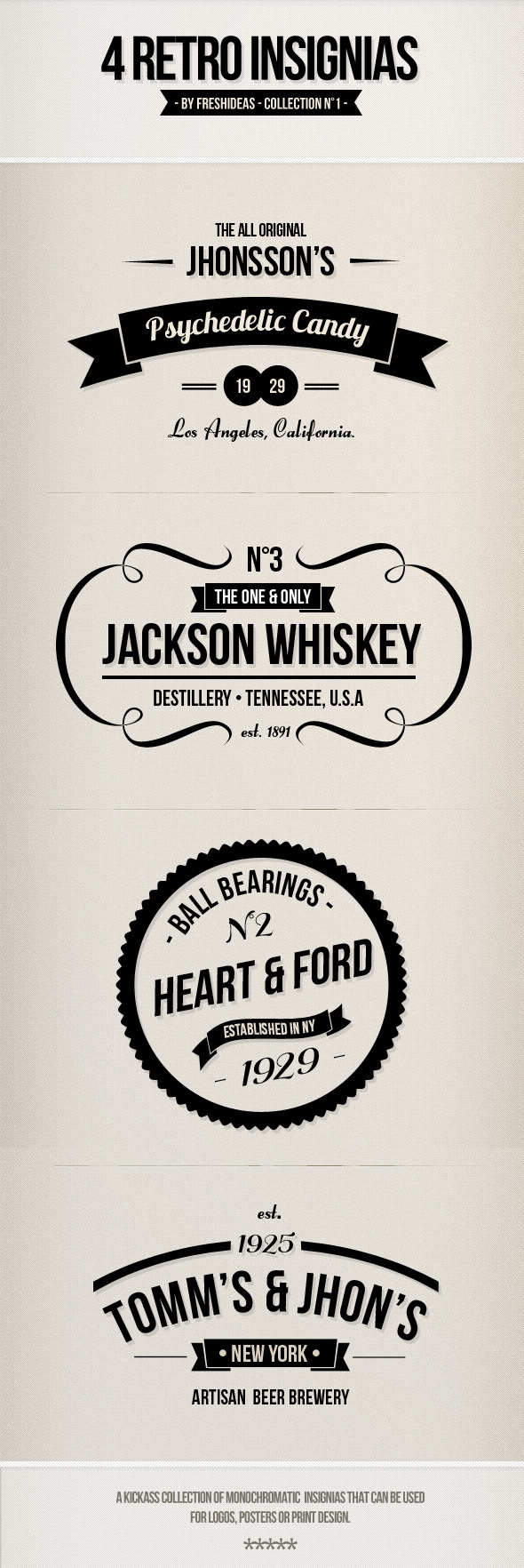 4 Retro Insignias – Badges on the Behance Network