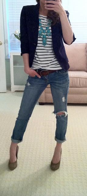 striped + blazer + jeans + statement necklace