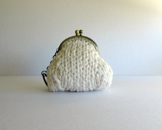white purse with key chain  knitted in cotton yarn by branda, $16.50
