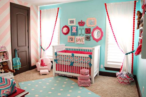 Pink & blue chevron nursery