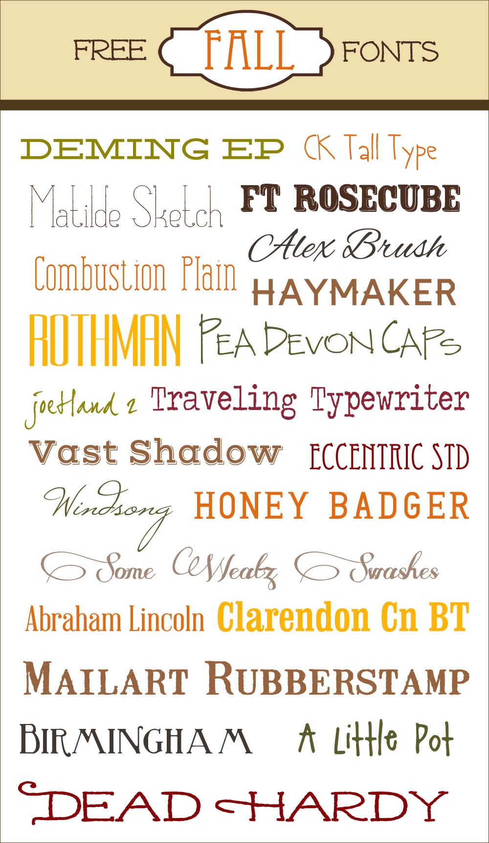 Free Fall Fonts with links to the individual download sites and also instruction