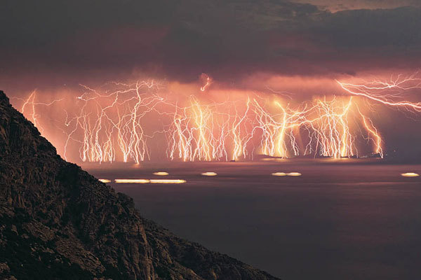 In Venezuela, just above the mouth of the Catatumbo River, a lightning storm has