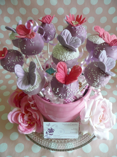 • Purple butterfly cakepops by LoveLane Cupcakes