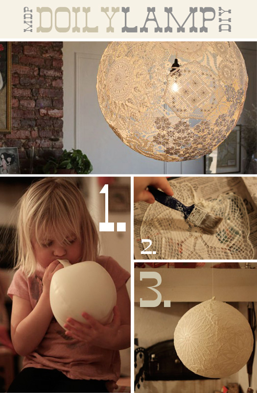 DIY Doily Lamp! I've been looking for this!