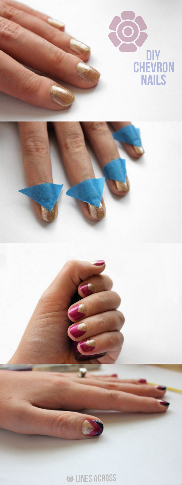DIY Chevron Nails from Lines Across #beauty #nails
