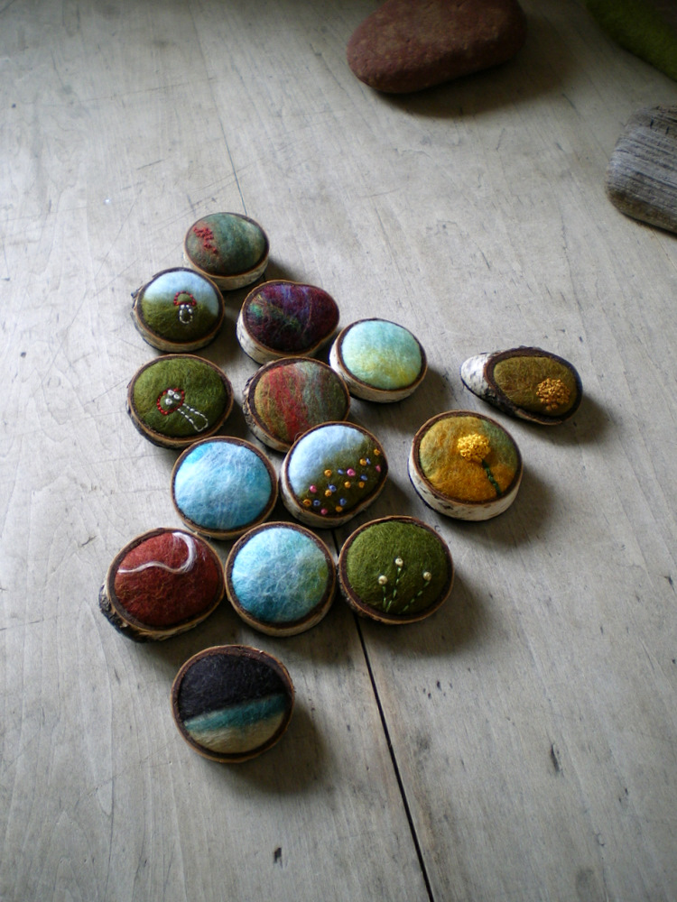 Wool and Birch Bark Brooches