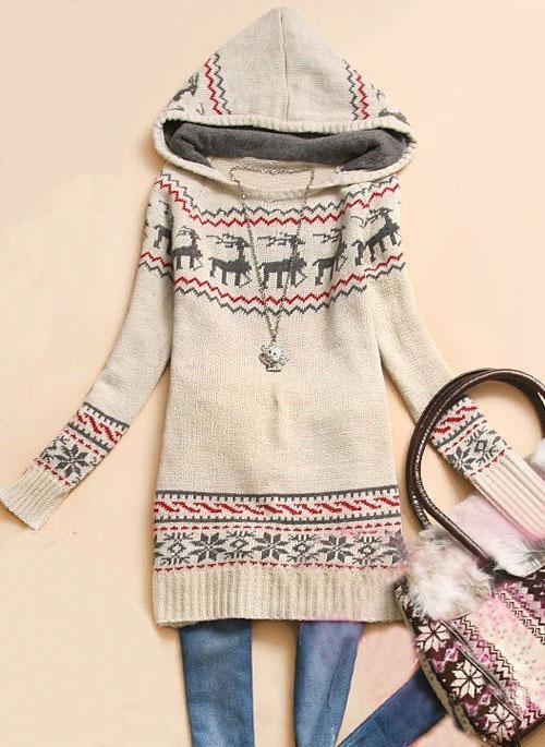 Hooded Deer Print Sweater