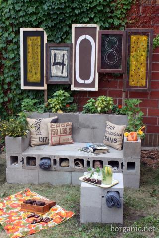 diy concrete block bench