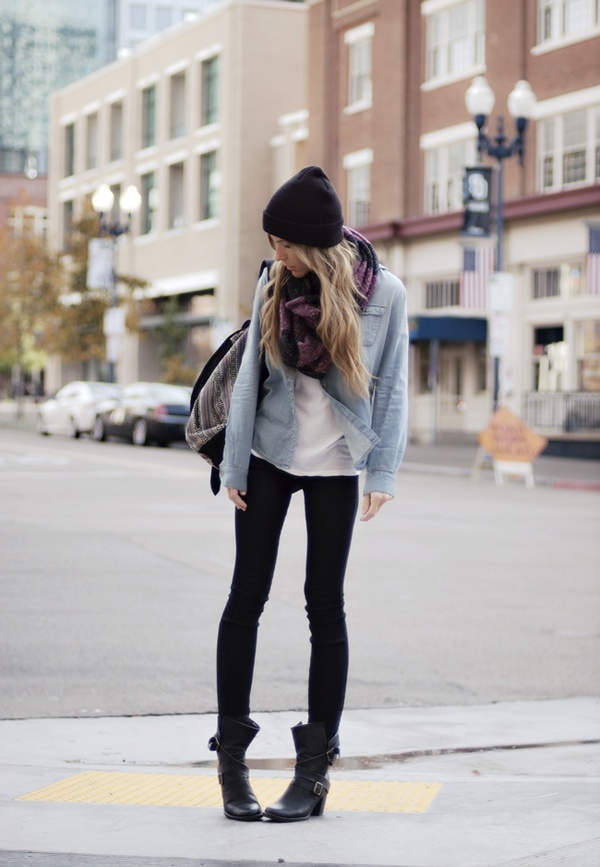 chambray, scarf + boots- Perfect for fall