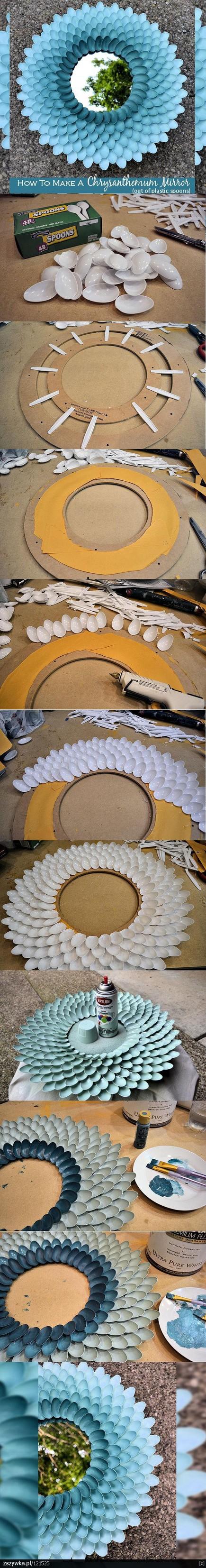 plastic spoons into chrysanthemum mirror
