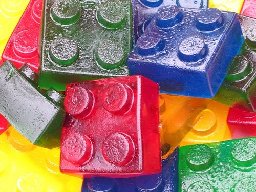 Wash mega blocks and then put the jello in them and you have Lego jello. Too cut