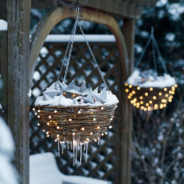 Starry Nights Basket  Make hanging baskets sparkle all winter long by lighting t