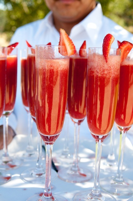 Strawberry Mimosas – 1/3 strawberry puree and 2/3 champagne