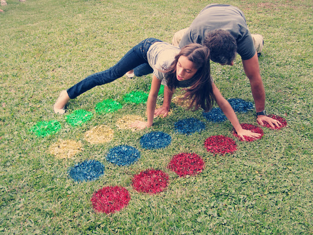 outdoor twister – and this way the mat can't slide around