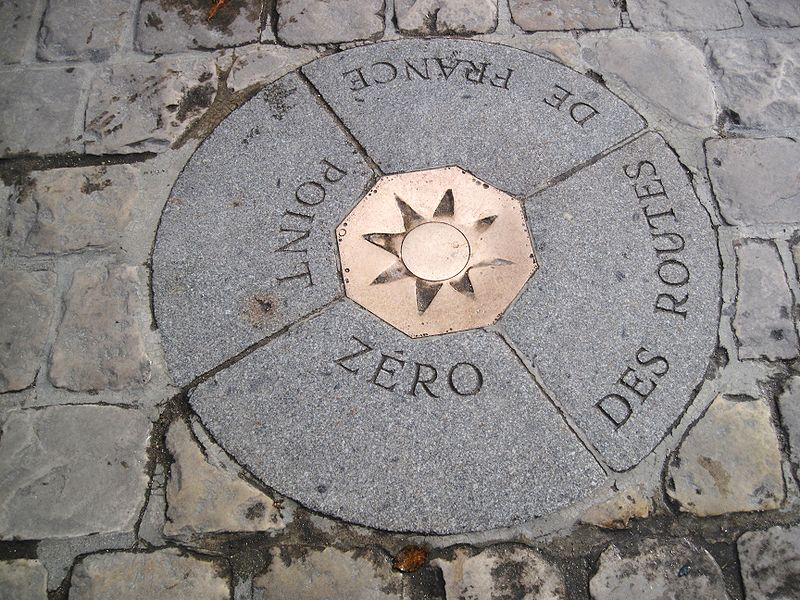 The point from which all distances are measured in France.