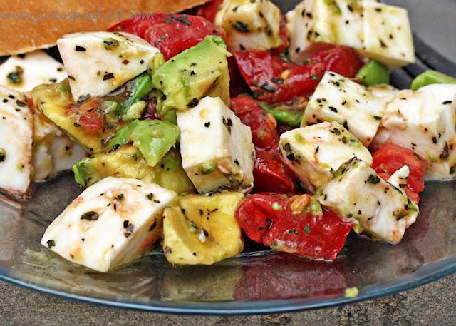 Avocado, Tomato, Mozzarella Salad w/ olive oil, basil, salt & pepper.