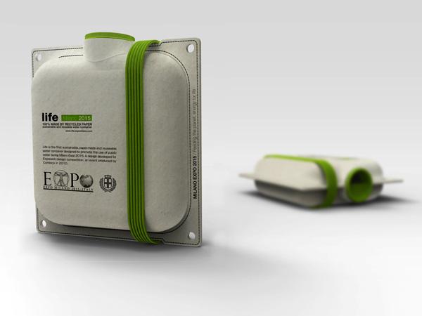 Botellas de agua hechas de papel reciclado  Diseñadas por Andrea Ponti para