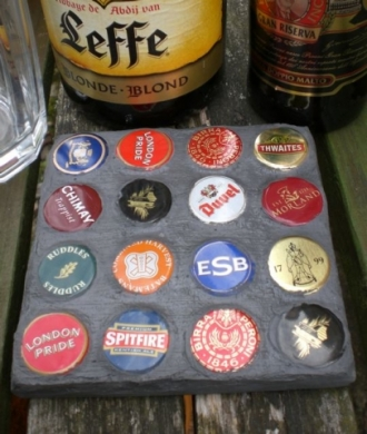 Mosaic Coaster from Beer Bottle Caps