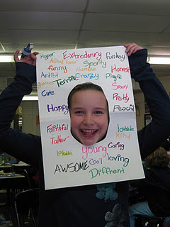 Students must find 20 adjectives that describe themselves. LOVE IT!!!