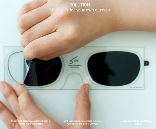 3D glasses stickers, for people who wear glasses and want to keep their vision a