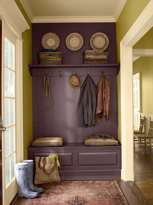 Paint a bench and shelf the same color as the wall to give the appearance of a b