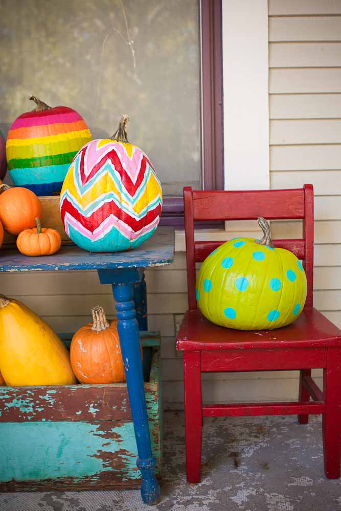 Colorful painted pumpkin ideas from Whatever.