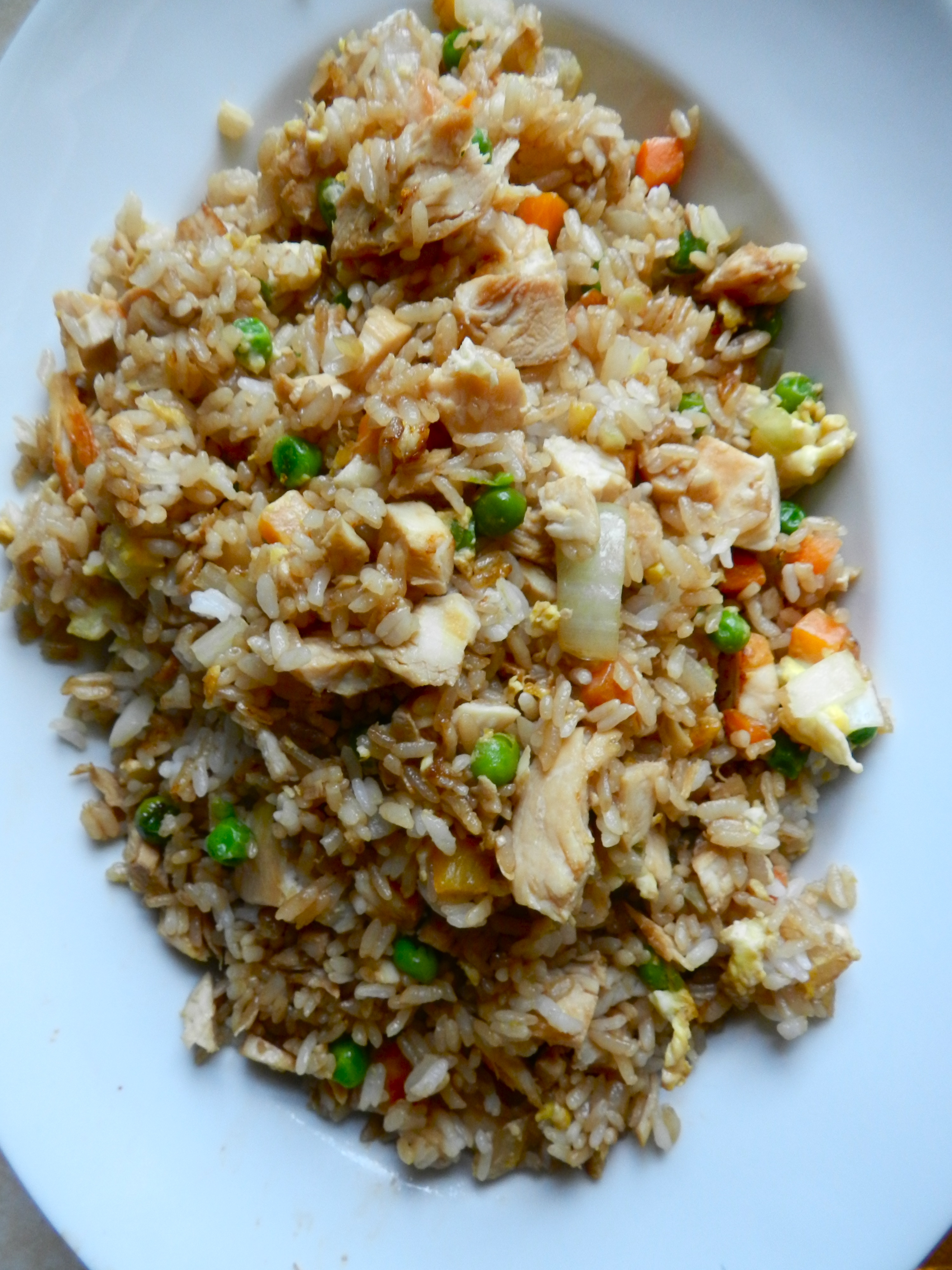 """""""Better-than-takeout chicken fried rice"""" Homemade, plus no yucky msg."""