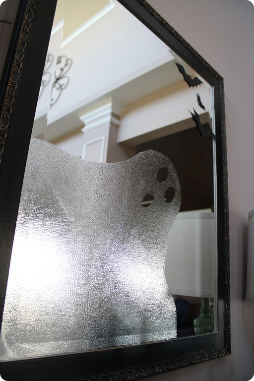 Use press 'n' seal saran wrap to make a ghostly friend in the window or