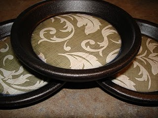 coasters made from terracotta pot bases… Smart. Better than tiles, the water c
