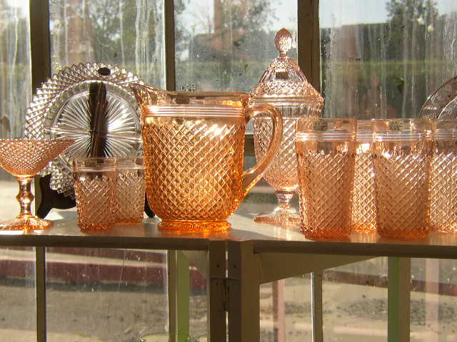 pink depression glass collection