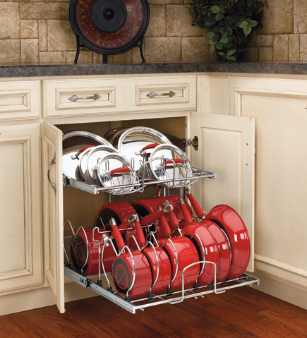 Now this is how pots and pans should be stored….Lowes and Home Depot sell them