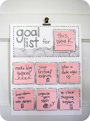 DIY Rotating goal list  – maybe put in a glass frame to use a dry erase marker i