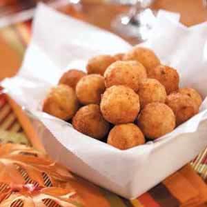Fried bacon, cheddar & mashed potato balls.