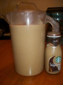 Starbucks Frappuccino Ingredients: 10 cups fresh coffee 1/2 cup of brown sugar 1