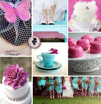 pink turquoise wedding