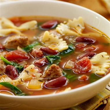 Italian-Style Soup with Turkey Sausage: Hearty vegetable soups with pasta are a