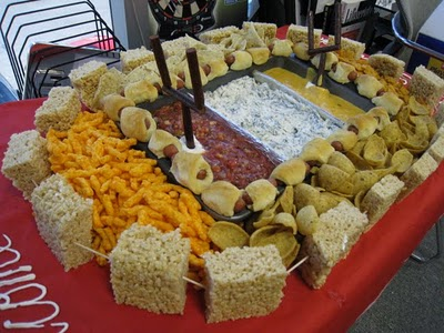 Football Stadium made of food – great for superbowl party
