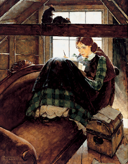 Jo Seated on the Old Sofa by Norman Rockwell, 1937. Oil on canvas. (Jo March fro