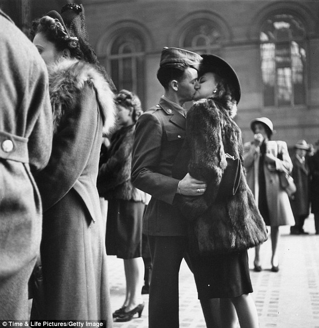 This picture was taken in 1943 at Penn Station. I can't help but wonder how