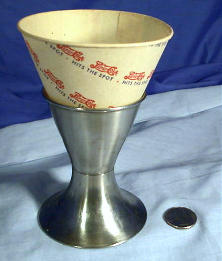 Soda Fountain Paper Cone and holder.
