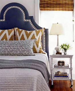 Navy Blue, White, and Gold Bedroom