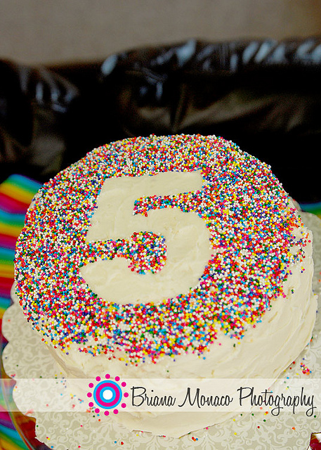 Place number on cake, sprinkle with sprinkles…remove.