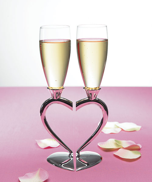 Silver Plated Interlocking Heart Stems with Glass Flutes. These are so pretty I&