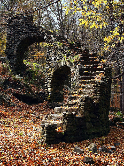 Staircase in the woods in New Hampshire