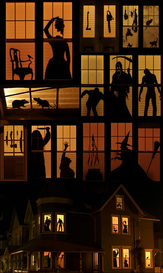 Fun spooky Halloween windows!