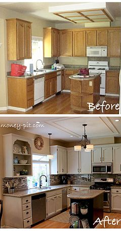 Modernizing an 80's Oak Kitchen – she takes you step by step with everything