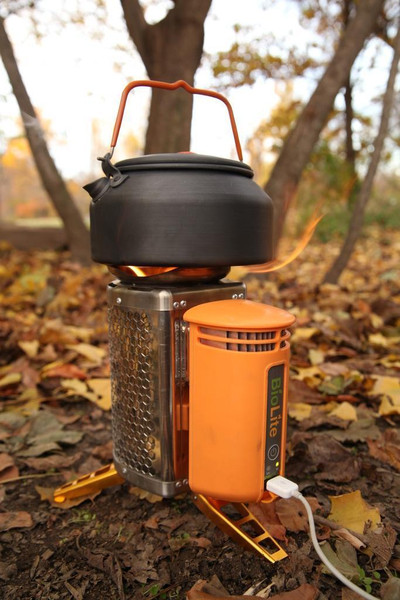 BioLight Campstove burns twigs and recharges your gadgets!! It converts hea