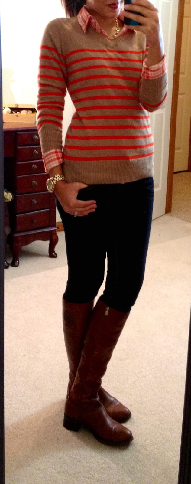 plaid button up, striped sweater, jeans, & boots