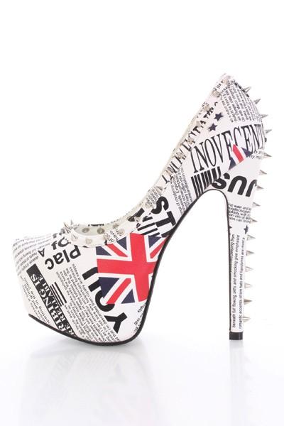 London Print Faux Leather Spike Studded Platform Heels @ Amiclubwear Heel Shoes